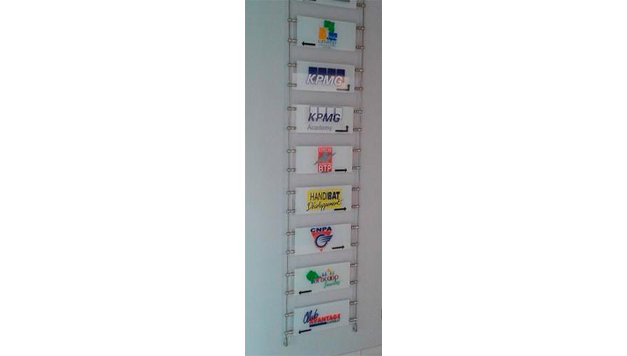 Plaques plexi directionnelles avec fixation par câbles murale